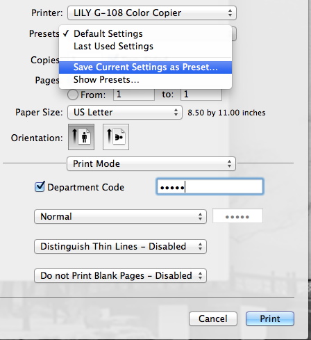 how to change printer presets on mac